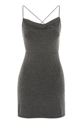 Topshop Glitter Cowl Neck Mini Dress By Nobody's Child Black
