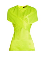 Sies Marjan Nikki Crossover Ties Satin Twill Top Yellow