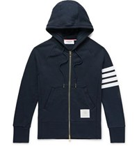 Thom Browne Slim Fit Striped Loopback Cotton Jersey Zip Up Hoodie Navy