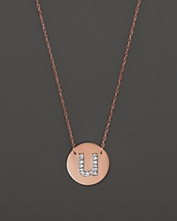 Jane Basch 14K Rose Gold Circle Disc Pendant Necklace With Diamond Initial 16 U