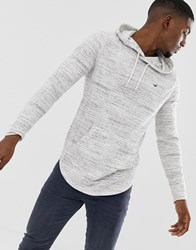Hollister Icon Logo Hooded Long Sleeve Top Contrast Trim In White Marl Streaky White