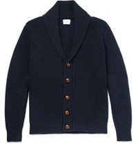 Kingsman Shawl Collar Ribbed Wool And Cashmere Blend Cardigan Navy