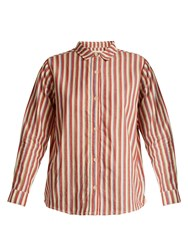 The Great Campus Striped Cotton Shirt Red White
