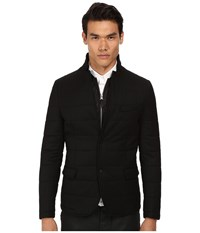 The Kooples Sport Melange Flannel Down Blazer Black Men's Coat