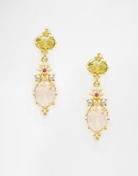 Les Nereides Jewel Drop Earrings Greenpink
