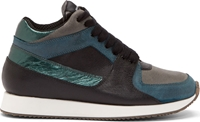Krisvanassche Black And Green Metallic Running Sneakers