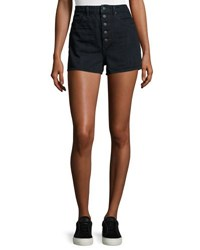 Helmut Lang High Waist Denim Shorts Dark Blue