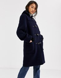 Gloverall Gloveral Original Duffle Mid Length Duffle Coat In Wool Blend Navy