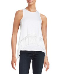 Red Haute Fringed Layered Effect Racerback Tank Top White