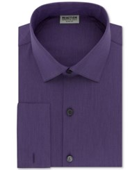 Kenneth Cole Reaction Men's Big And Tall Slim Fit Techni 3 Way Flex French Cuff Dress Shirt Purple