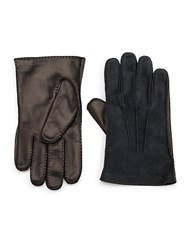 Portolano Cashmere Lined Leather Gloves Black Red