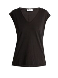 Frame V Neck Cotton Jersey T Shirt Black