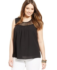 Eyeshadow Plus Size Sleeveless Crochet Trim Illusion Top