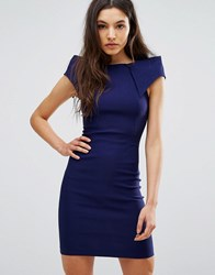 Vesper Pencil Dress With Asymmetric Shoulder Detail Navy