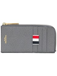 Thom Browne 4 Bar Emboss Half Zip Around Wallet Grey