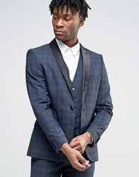 Selected Wedding Check Suit Jacket Navy