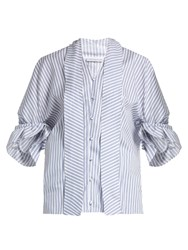 J.W.Anderson Ruffled Cuff Striped Cotton Shirt Blue Stripe