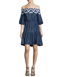 Peter Pilotto Embroidered Off The Shoulder Mini Dress Indigo