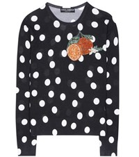 Dolce And Gabbana Embellished Polka Dotted Silk Sweater Black
