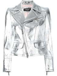 Dsquared2 Metallic Grey Biker Jacket