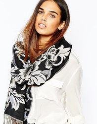Warehouse Floral Jacquard Scarf Silver