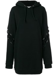 Each X Other Lace Up Sleeve Oversized Hoodie Black