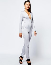 Missguided Plunge Neck Tie Waist Jumpsuit Gray