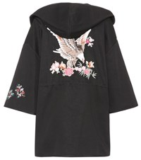 Red Valentino Embroidered Cotton Coat Black