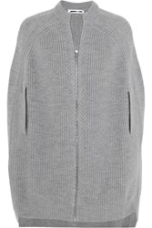 Mcq By Alexander Mcqueen Ribbed Wool Cape Gray