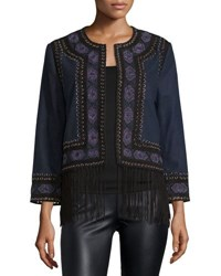 Haute Hippie Wool Lacing Embellished Coat Midnight Blue