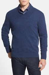 Nordstrom Shawl Collar Cashmere Pullover Heather Navy
