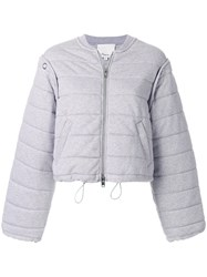 3.1 Phillip Lim Quilted Bomber Jacket Cotton Polyester Xs Grey