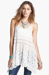 Free People Women's Swingy Lace Inset Tunic White Combo