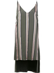 Adam By Adam Lippes Striped Deep V Neck Tunic Green