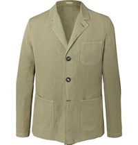 Massimo Alba Green Unstructured Linen And Cotton Blend Blazer Green