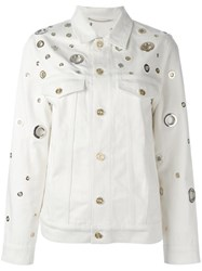 Kenzo Grommet Detailed Denim Jacket Nude Neutrals