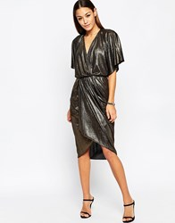 Asos Metallic Wrap Kimono Midi Dress Gold