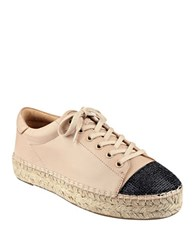 Kendall Kylie Joslyn Leather Cap Toe Espadrille Sneakers Tan Black