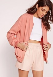 Missguided Satin Two Tone Bomber Jacket Pink Coral