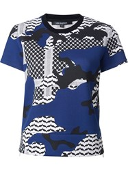 Neil Barrett Patterned Camouflage T Shirt Blue