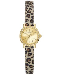 Guess Women's Blue Animal Print Leather Strap Watch 23Mm U0885l4 Gold