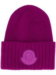 Moncler Logo Patch Beanie Purple