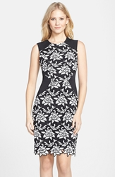 Bcbgmaxazria 'Laurine' Floral Lace Overlay Sheath Dress Black White