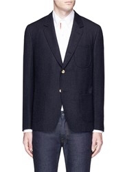 Thom Browne Wool Blend Boucle Blazer Blue