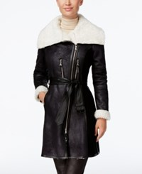 Vince Camuto Mixed Media Faux Shearling Coat Black Ivory