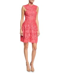 Monique Lhuillier Sleeveless Guipure Lace Cocktail Dress Red