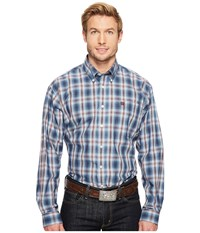 Cinch Long Sleeve Plain Weave Solid Blue Men's Clothing