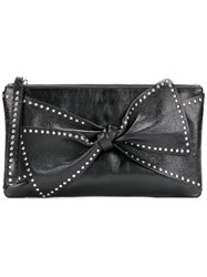 Red Valentino Bow Detail Clutch Bag Women Calf Leather One Size Black