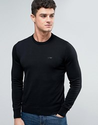 Armani Jeans Crew Knit Jumper Logo Regular Fit In Black Nero