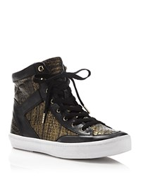 Rebecca Minkoff Smith Metallic Snakeskin High Top Sneakers Gold Black
